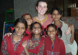 Ashleigh with students in India.