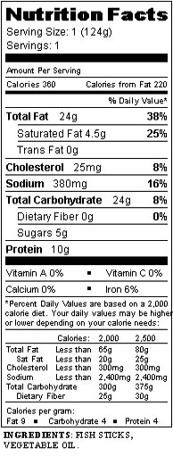 Our menu 39 s nutrition labels csb sju for Swedish fish ingredients