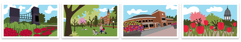 Images of four note cards featuring drawings of Saint Ben's Campus