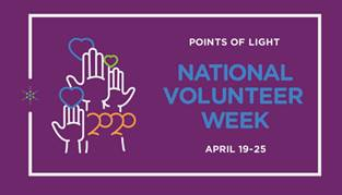 Logo for the 2020 National Volunteer Week