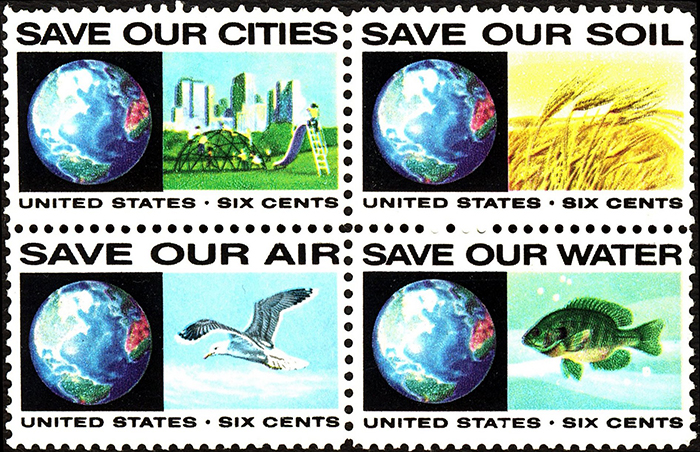 1970 US postage stampe: save our cities, save our soil, save our air, save our water