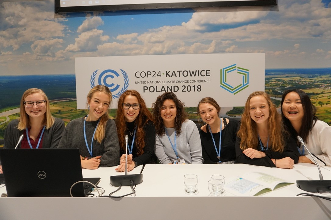 students at COP 24 negotiations