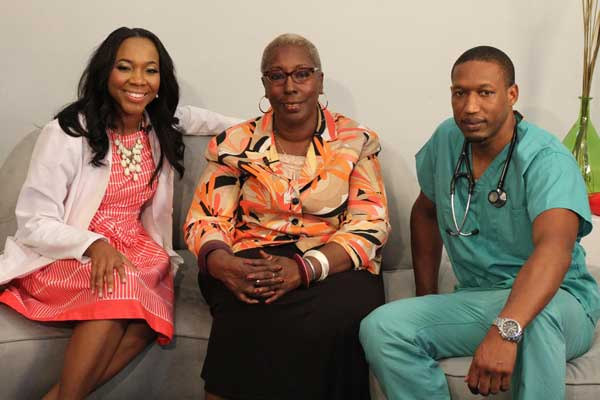 Drs. Renee Sandy (CSB '05) (left) and Renauldo Gordon (SJU '04) (right) with Dr. Zalika Adams (middle)