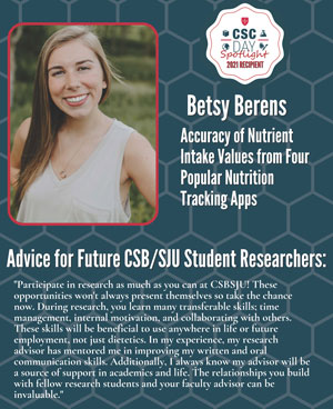 Betsy Berens, Nutrition Major Student