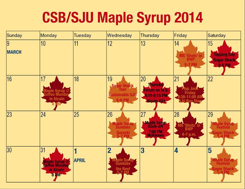 Sju Calendar.Csb Sju Maple Syrup Events Csb Sju