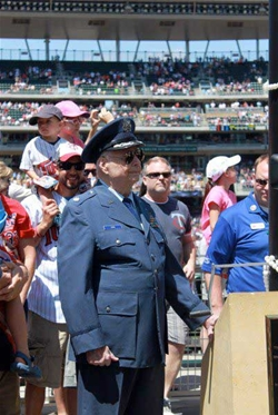 WWII veteran Ed Zins '47 was selected to raise the American flag during the Memorial Day Twins vs. Athletics game at Target Field in Minneapolis.