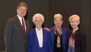 Photo of former CSB Presidents, Renner, O'Connell and current President Baenninger with President Hemesath