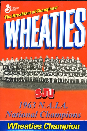 Photo of the Wheaties cereal box that featured the 1963 SJU Football team